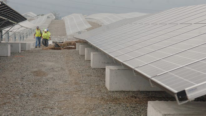 A solar farm in Kearny. A microgrid can be powered by solar energy, in addition to other types of energy sources.