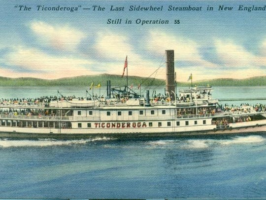 Historic postcard of the Ticonderoga.