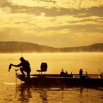 Bass fishing in morning fog