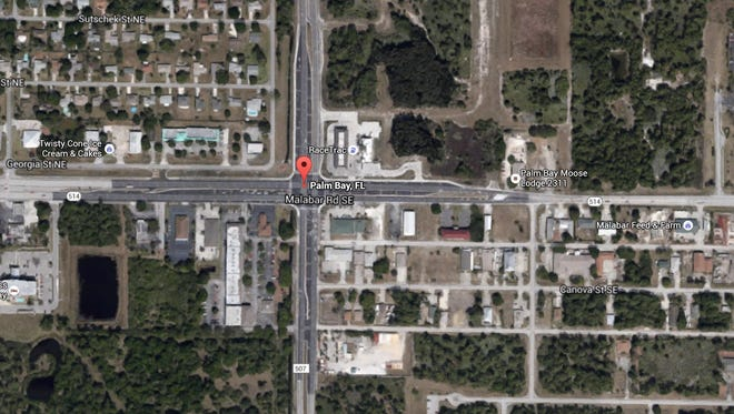 The location of a crash that has shut down the intersection of Babock St. and Malabar Rd. in Palm Bay.