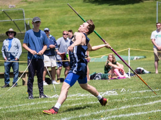 MMU's Zane Russom won javelin during Saturday's Division I high school track and field state championships at Burlington.