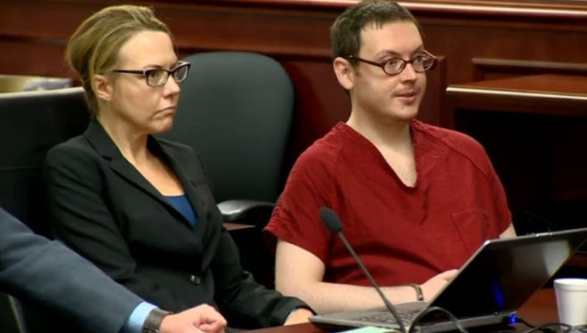 Convicted theater shooter James Holmes sits next to one of his attorneys during the sentencing phase of the trial. Holmes has received a life sentence without possibility of parole for killing 12 people at a suburban Denver movie theater in July 2012, but still must be formally sentenced for the other crimes he's been convicted of.