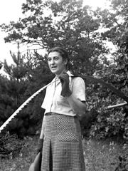 """Estella Leopold, wife of Aldo Leopold, served as his """"chief sawyer"""" when his family cut firewood."""