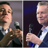 Ted Cruz and John Kasich have formed a loose alliance. (FILES)This combination of file photos shows Republilcan presidential candidates Ted Cruz(L) and John Kasich.Ted Cruz and John Kasich have agreed to join forces to try to deny frontrunner Donald Trump the Republican Party's presidential nomination, their campaigns said April 24, 2016. The sudden alliance, revealed in short statements, arose due to the pressing timing of the Republican party's presidential primary season. / AFP PHOTO / dskDSK/AFP/Getty Images