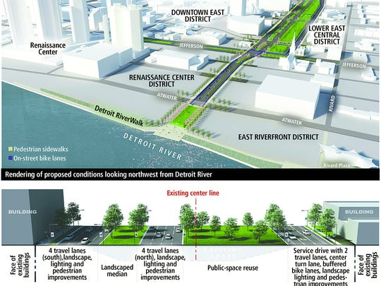 This 2014 rendering provided by the Michigan Department of Transportation shows a possible configuration of what the I-375 corridor would look like once the expressway is replaced by a surface street in several years.