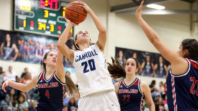 Carroll's Isabella Beletic takes the ball to the basket against Veterans Memorial during the Region IV-5A quarterfinals Tuesday, Feb. 21, 2017, at King High School in Corpus Christi.