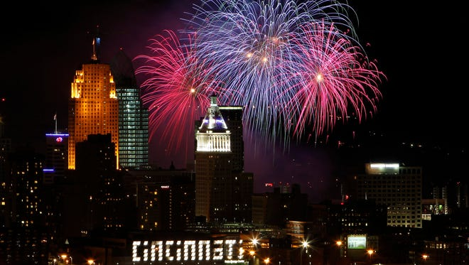 Fireworks light up the sky over the City of Cincinnati with a vantage point from the Queens Tower in East Price Hill celebrating Labor Day with a Riverfest celebration in 2010.