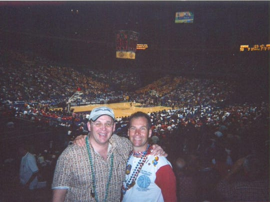 Doug Knust, left, and Christopher Korth in 2003 at the Louisiana Superdome in New Orleans for the Final Four.