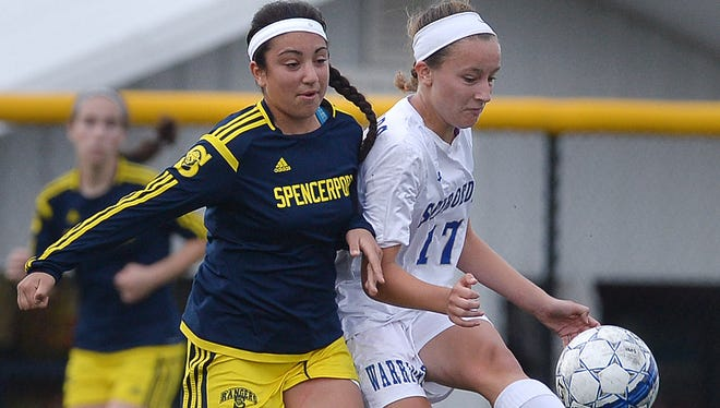 Sophomore Anna Hewlett, right, leads Webster Schroeder with six goals and six assists. The Warriors are 8-0-2 and ranked second in the D&C's large-school coaches' poll, nudging up a spot after tying No. 1 Spencerport, 1-1, and edging previous No. 2 Fairport, 1-0, in the past 10 days.