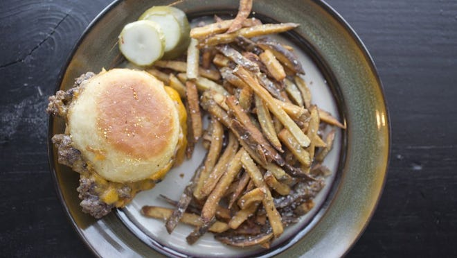 Burger and fries at Baba's, which has closed  permanently