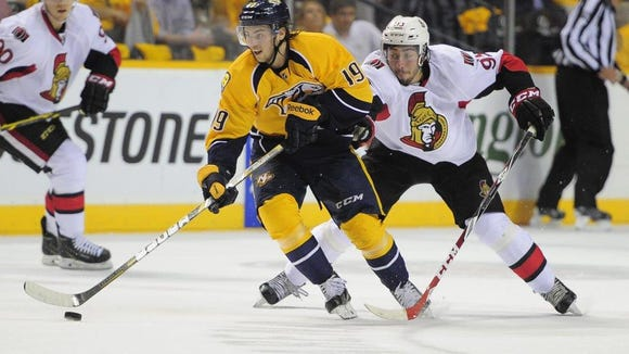 Calle Jarnkrok has yet to register a point for the Predators this season, but his play has pleased new coach Peter Laviolette.