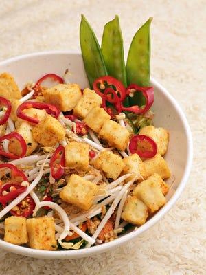 Tofu and veggie rice bowl made by Foosia Asia Fresh restaurant in Scottsdale.
