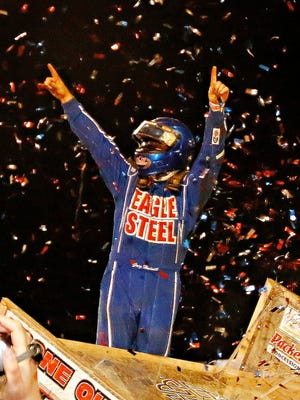 Spring Grove's Greg Hodnett is seen here celebrating after a World of Outlaws win at Lincoln Speedway. The Outlaws return to Lincoln Speedway on Wednesday for the Gettysburg Clash.