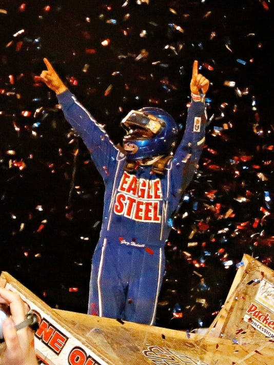 Spring Grove's Greg Hodnett celebrates his World of Outlaws triumph on Wednesday night at Lincoln Speedway.