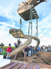 With a small crowd watching, a woolly mammoth's skull and tusks are hoisted from the excavation site west of Ann Arbor.