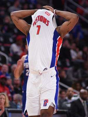 Detroit Pistons forward Stanley Johnson (7) reacts after missing a shot during the fourth quarter against the Philadelphia 76ers at Little Caesars Arena on April 4, 2018.