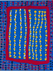 "Prince of Wales (Midpul)'s painting ""Body Marks"" is part of the exhibit ""No Boundaries: Aboriginal Australian Contemporary Abstract Painting"" at Cornell University's Herbert F. Johnson Museum."