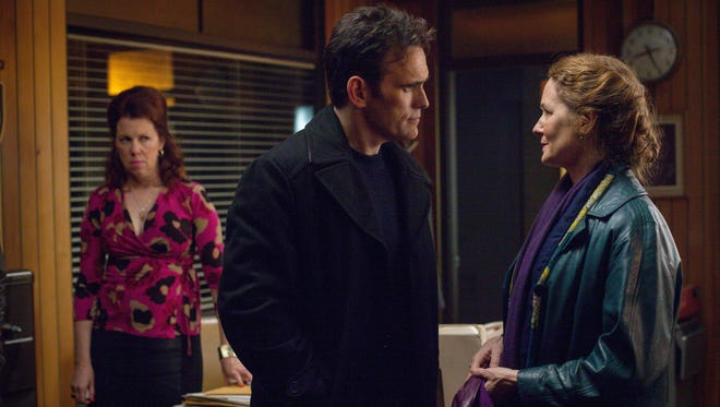 "Siobhan Fallon Hogan, from left, Matt Dillon and Melissa Leo on the new Fox series ""Wayward Pines,"""