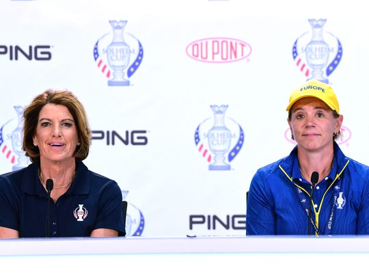 Solheim Cup captains Juli Inkster (USA) and Annika Sorenstam (Europe) staged an impromptu dance session on the first tee on Sunday morning in Des Moines.