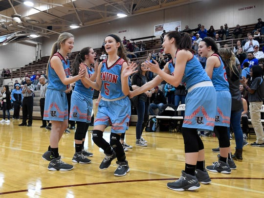 Union County's Ashley Conway (5) is introduced as the Henderson County Lady Colonels play district rival the Union County Braves at Colonel Gym Monday, January 22, 2018.