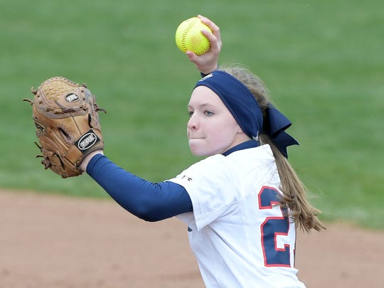 Shippensburg's Kayla Bonawitz fields a ground ball to the infield and makes the throw to first base for the out during the second inning of their game against Kutztown on Thursday afternoon.