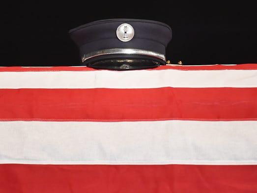 The hat belonging to  Lt. Dennis DeVoe with the Harrisburg