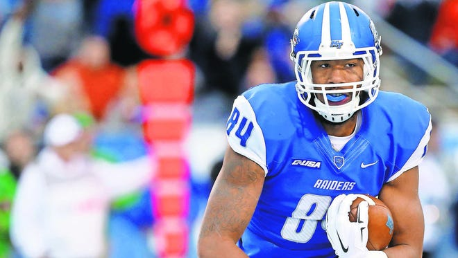 MTSU wide receivers Terry Pettis (84) and Shane Tucker combined for 1,158 total offensive yards and seven touchdowns last season.