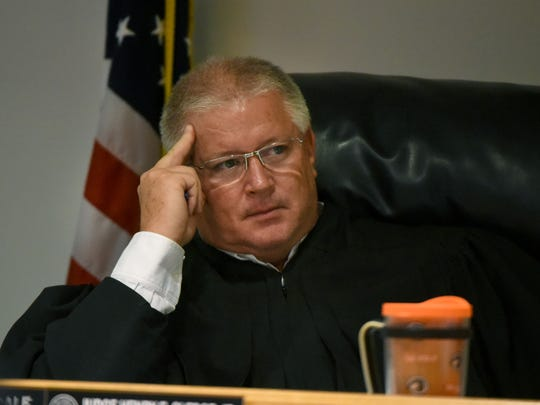 Loudon County Judge Rex Dale during a preliminary hearing Thursday, Sep. 7, 2017 for Colby Shane Cannon, former Lenoir City reserve officer and Monroe County jailer, in the June shooting deaths of his girlfriend Bethany Christian McKenzie, 28, and his sister, Taylor Brooke Cannon Creamer, 34.