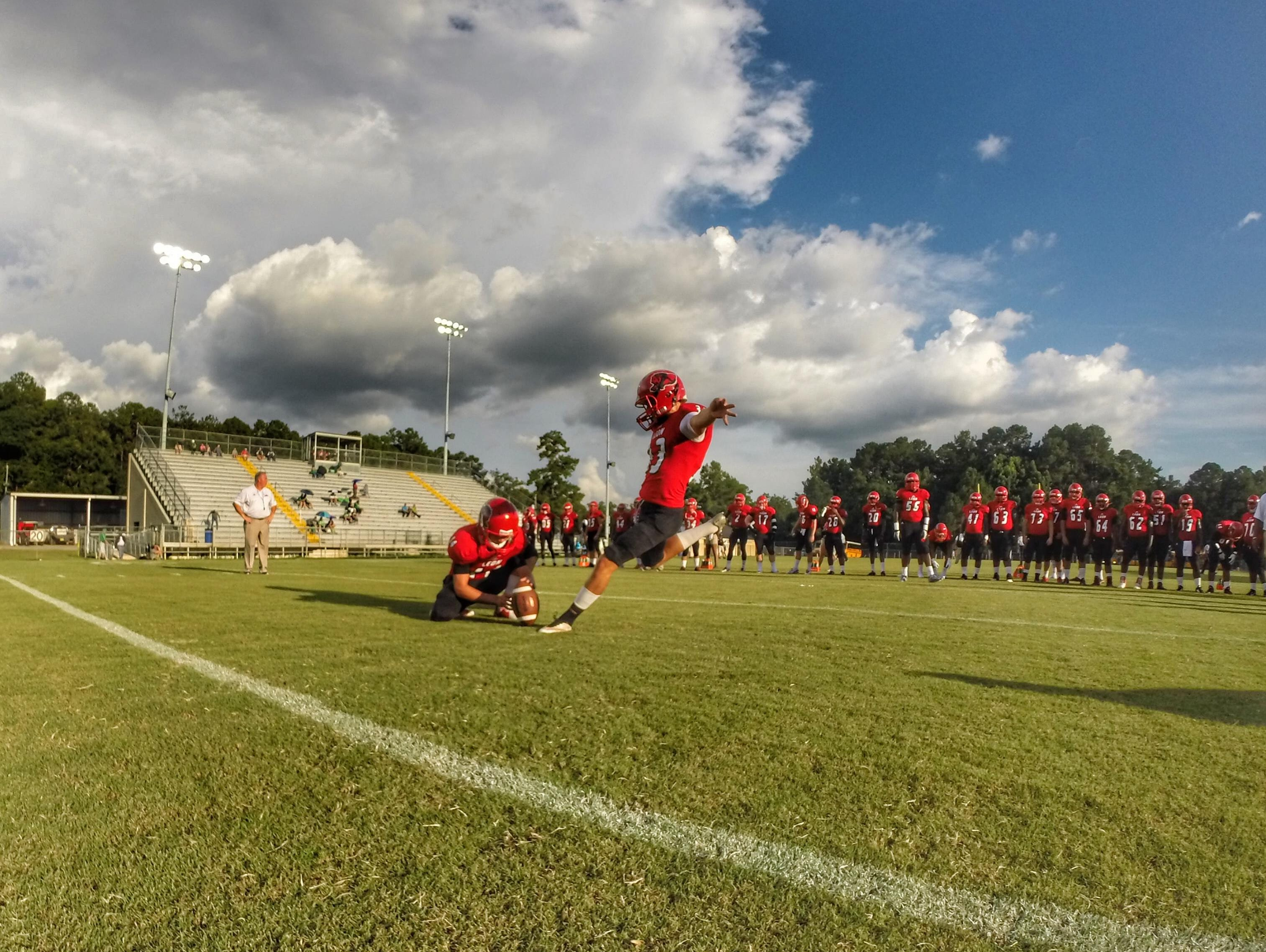 Leon kicker Jack Driggers warms up prior to the Lions playing Suwannee. Driggers won the game with a 42-yard field goal as time expired.