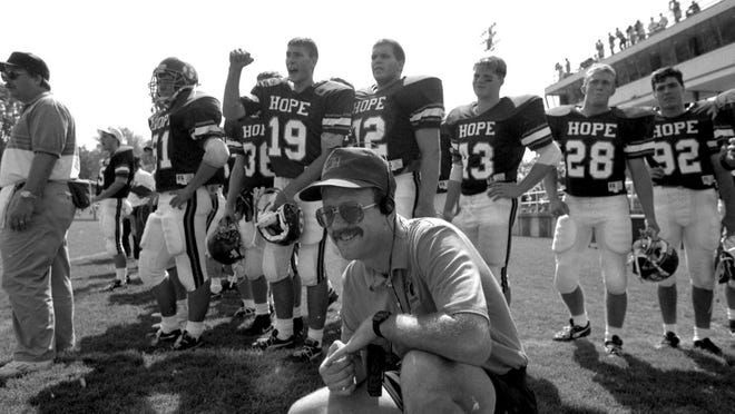 Hope's Gordon VanderYacht (front) during a Hope football game in 1992.