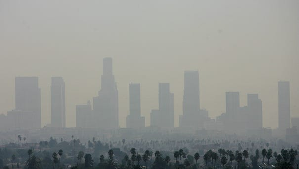 A view of air pollution over downtown Los...