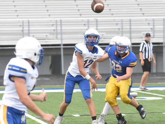 Mountain Home quarterback Eric Pederson (12) throws