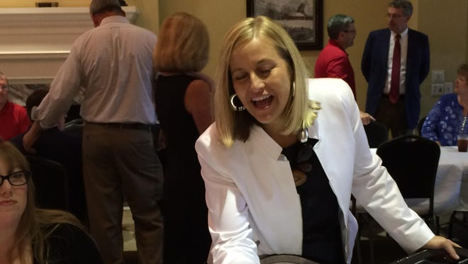 Nashville Mayor Megan Barry greets folks who attended her address Friday at TriStar Bank in Dickson.