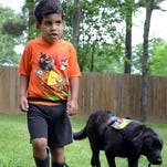 Dominic Tobin, 7, strolls in his backyard with his autism service dog Krypto. Dominic's parents are hoping that Krypto can help with Domini'cs emotional problems and his tendency to wander off.