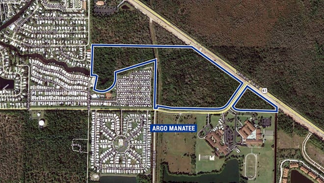 Argo Land Development is clearing land, outlined in blue on this map, at U.S. 41 East and Manatee Road for a future residential community near Manatee Middle and Elementary schools.