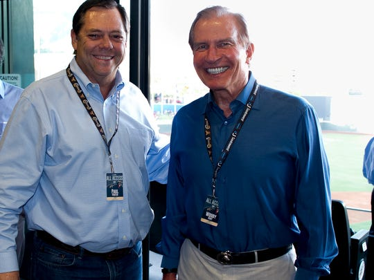 El Paso businessmen Paul Foster, left, and Woody Hunt