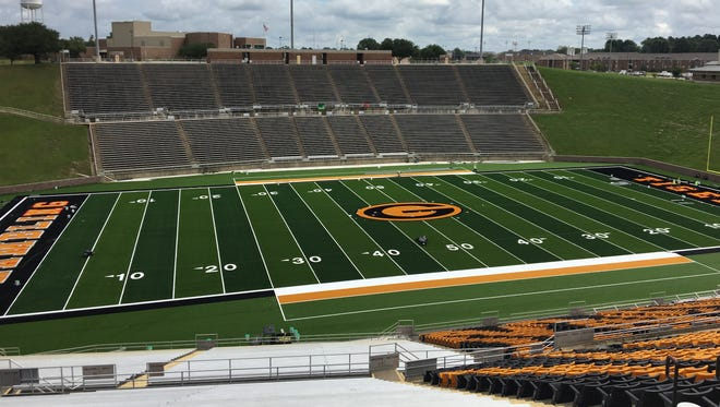 Full field view of the field at Eddie Robinson Stadium on campus at Grambling State University.