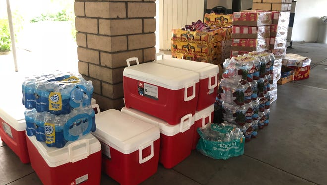 A food bank in Banning offered snacks, fruits and water to the students and staff of Idyllwild Arts camp group staying at Motel 6 in Palm Springs.