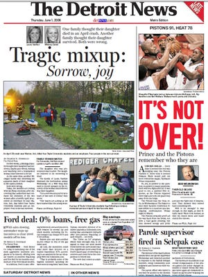The front page of The Detroit News on June 1, 2006.