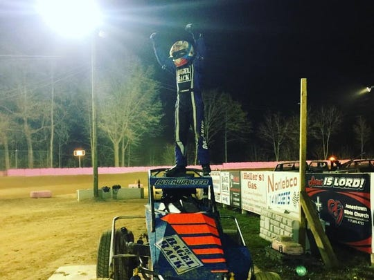 Tim Buckwalter celebrates in victory lane after winning on night one of Starrcade 2016 at Linda's Speedway.