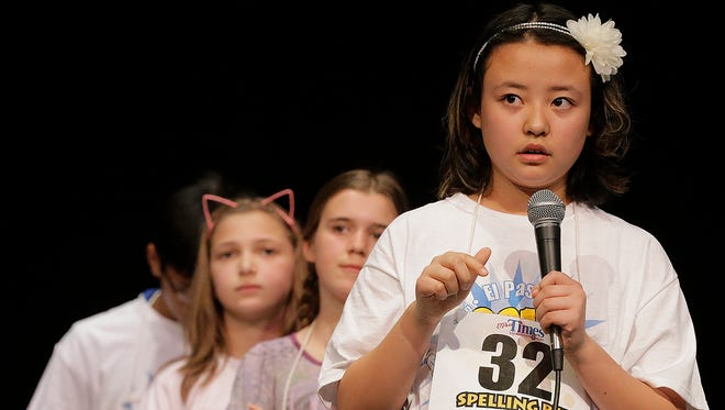 Hannah Ramos, representing Mary Tippen Elementary School, wishes she had brought a pen and paper to write down the word she was given during the opening day of competition in the 2016 El Paso Times Spelling Bee, which was held Thursday afternoon at Bel Air High School's Tartan Theatre. Ramos didn't need it after all as she spelled her word correctly and advanced to the finals and second day of competition, which continues beginning at 9 a.m. Friday. The finals start at 1 p.m.