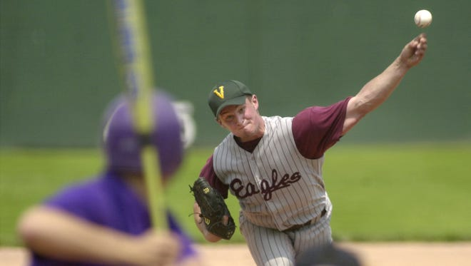 Tyler Pelland delivers a pitch during the 2002 Division II high school baseball state championship game at Centennial Field.