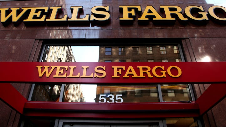 A Wells Fargo sign in New York.