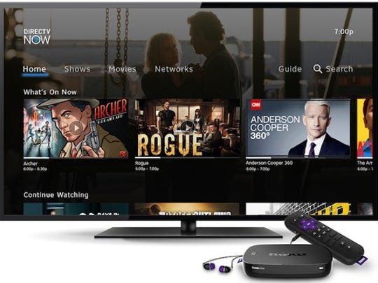 DirecTV Now's homescreen on a Roku device connected to a TV.