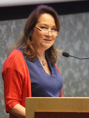 Texas first lady Cecilia Abbott speaks at the El Paso Nonprofit Business Summit on Friday at the University of Texas at El Paso. Abbott was introduced by UTEP President Diana Natalicio. The summit featured 20 speakers during three breakout sessions covering topics such as volunteerism, CEO and board relationships, social media and communications strategies, and low-cost solutions for nonprofits.
