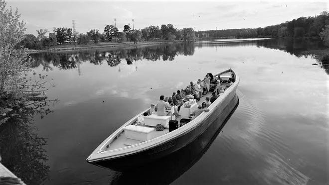 A Petersburg boat cruises the Augusta Canal.