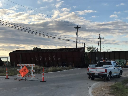 T&P Lane was closed Tuesday morning because of a derailment.
