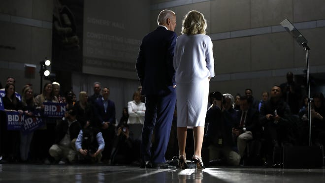 Democratic presidential candidate former Vice President Joe Biden, accompanied by his wife Jill, speaks to members of the press at the National Constitution Center in Philadelphia, Tuesday, March 10, 2020.