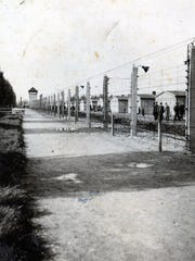 The electric fence at Dachau, photographed by Bernard