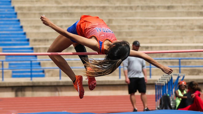 San Angelo Central's Yasmine Contreras clears the high jump during the San Angelo Relays on Friday, March 23, 2018, at San Angelo Stadium.